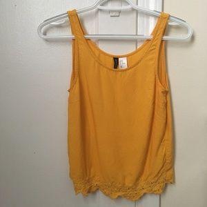 Yellow Sleeveless Crop Top